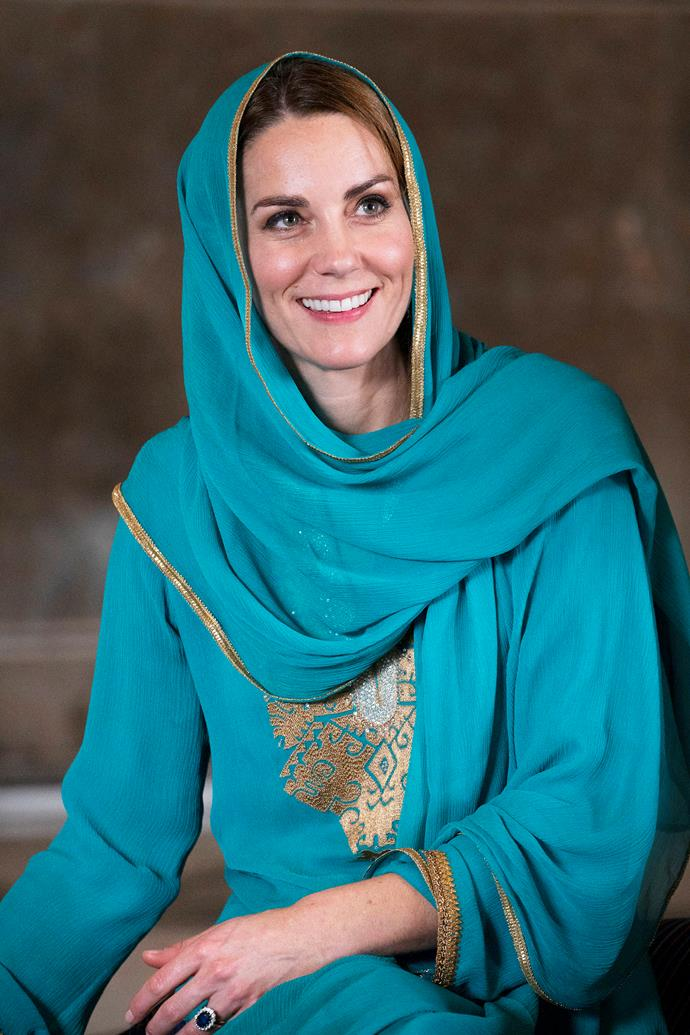 "The gorgeous French chiffon garment was hand embroided with gold silk by the tribespeople of Swarth in Pakistan. <br><br> Speaking to *[PEOPLE](https://people.com/royals/kate-middletons-handcrafted-teal-shalwar-kameez-is-available-to-buy-online-now/|target=""_blank""
