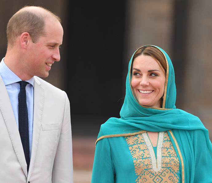 Kate glowed in the heavenly outfit as she and Prince William visited the Badshahi mosque - we can't blame Wills for looking a little smitten!