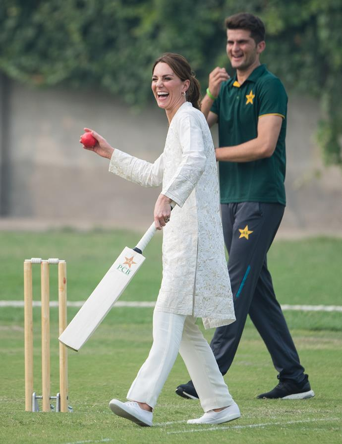 But always ready to get into the thick of things, Kate made a quick wardrobe tweak as she stepped out to play a game of cricket. Styling her hair in a chic-yet-practical pony and wearing a pair of flat Hampton canvas sneakers, the Duchess was ready for action.