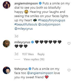 The comments from Cody and Miley's mums.