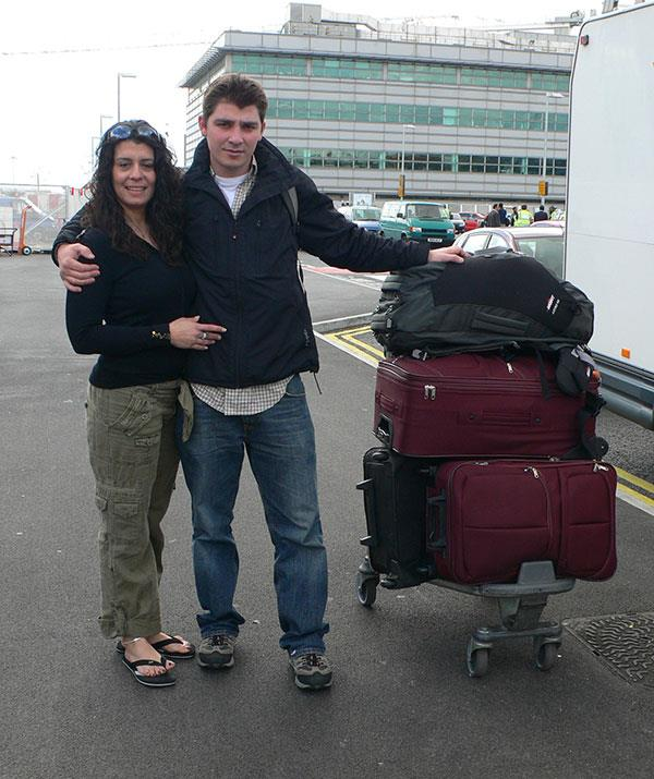 The couple together at Heathrow airport. By now, Greg was completely smitten.