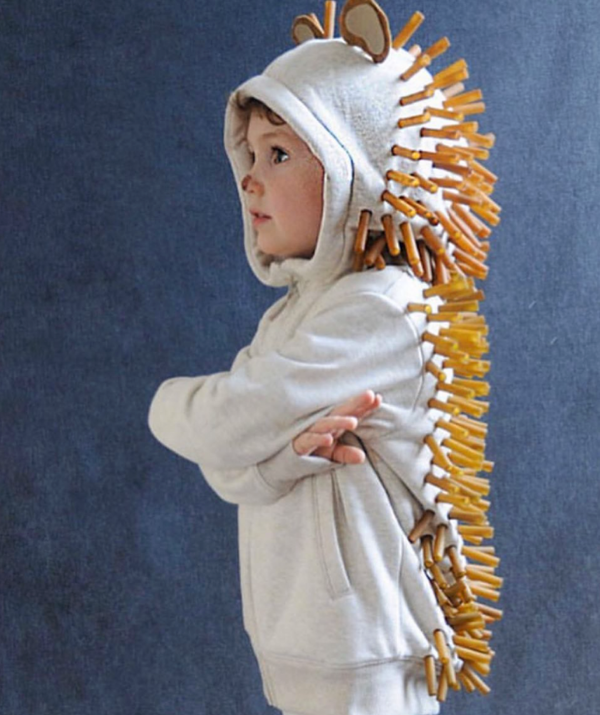 **Hedgehog:** Not much cuter than kid dressed up as a cute furry animal! This hedgehog costume has been made with penne pasta. How clever is that?!