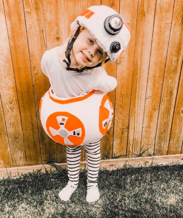 **BB-8:** Even if you can't sew, felt and a hot glue gun will make you look a seamstress. Take this simple Star Wars BB-8 for example. Not one single stitch!
