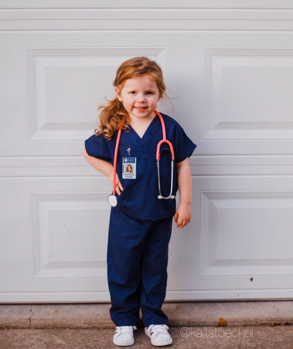 **Nurse:** Dressing up as mum or dad is a super cute way to hit the trick or treat trail. This little nurse outfit would be a gorgeous tribute to someone special.