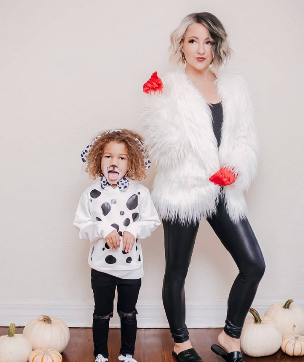 **101 Dalmations:** Your treat bags will be overflowing if you hit the neighbourhood  as a Cruella Deville and a dalmation puppy pair!