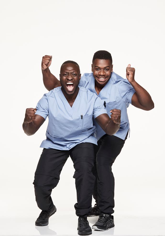 **BEST WORK FRIENDS: FEMI, 23, & NICK, 23** <br><br> Femi and Nick are psychiatric nurses, so they're cool, calm and collected in fast-paced, high-pressure situations.