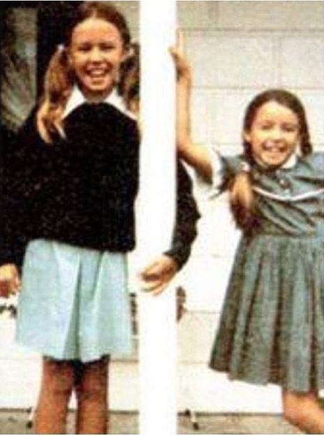 Kylie and Dannii (l - r) during childhood in Melbourne, Australia.