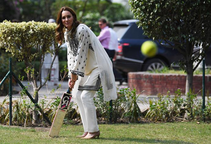 To top it off, Kate gave us even *more* inspiration by wearing her heels as she played a game of cricket. No easy feat!