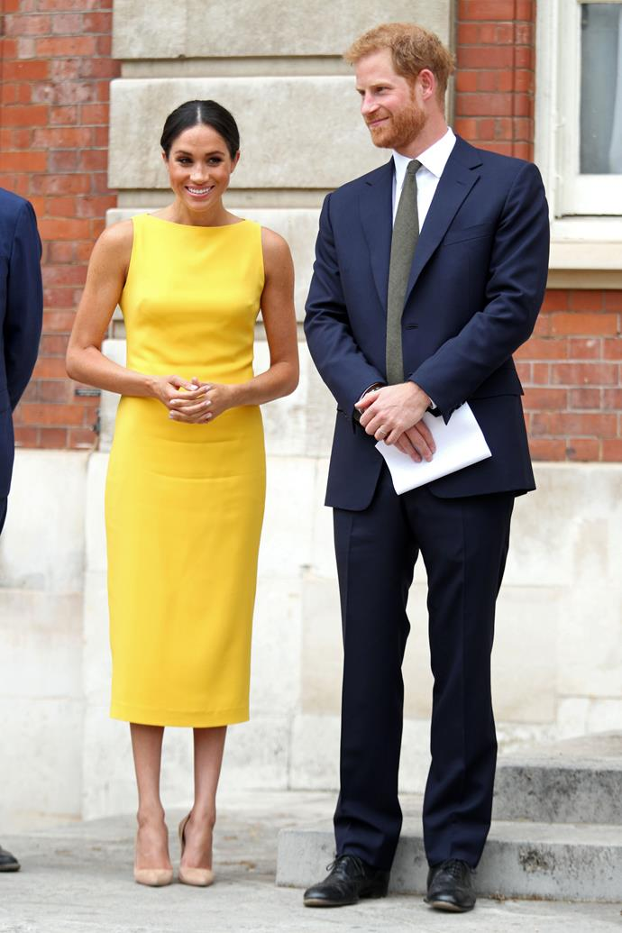 A month later, the Duchess once again had us ogling in this striking yellow Brandon Maxwell dress.