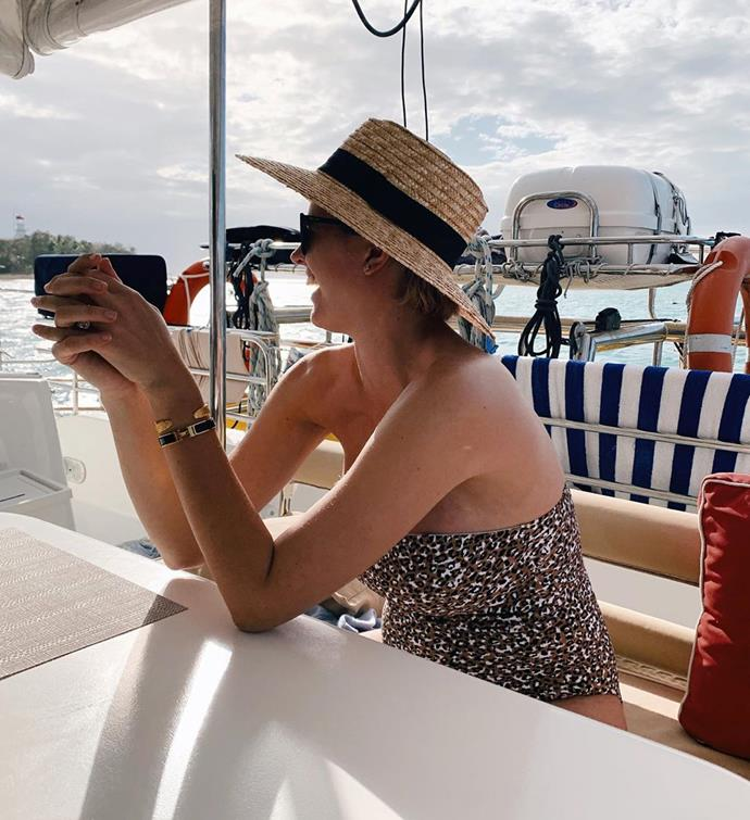 The gorgeous mama-to-be looked stunning in their leopard-print one-piece.