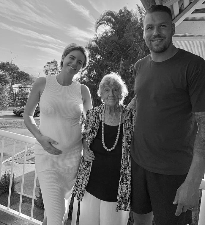 Jesinta, holding her beautiful bump, with her husband Buddy Franklin and his grandmother.