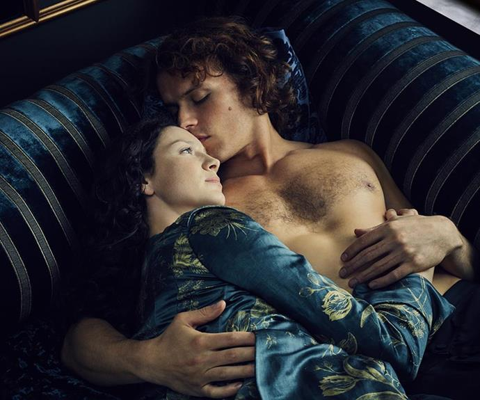 """It's just a part of Outlander,"" Sam says of his intimate scenes with Caitriona."