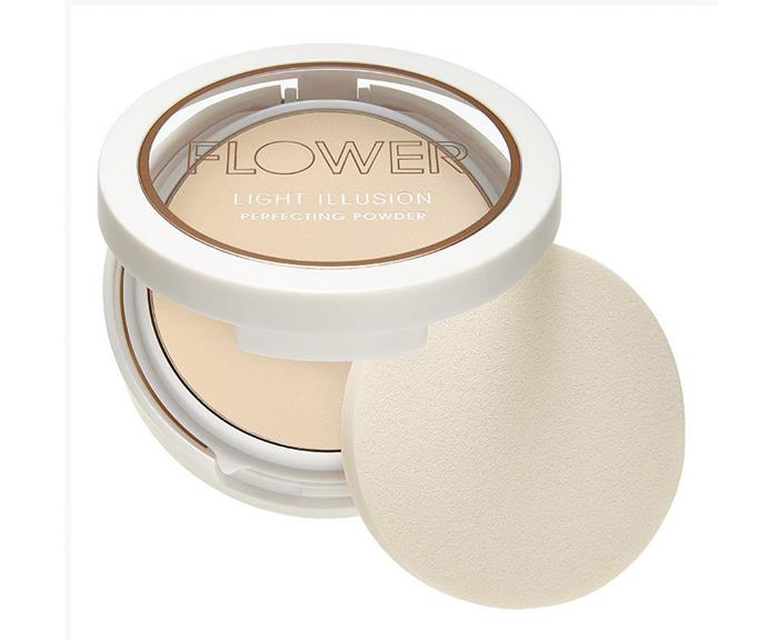 "**Flower Light Illusion Perfecting Powder, $7 from Chemist Warehouse** <br><br> ""I love this budget buy for brightening and setting areas like under the eyes, top of the jaw line, around the nose and the centre of the forehead,"" Max said. ""It mattifies and sets foundation and concealer but also illuminates the skin (in a matte-kinda-way) making it perfect for brightening these areas and making them look more air brushed!"""