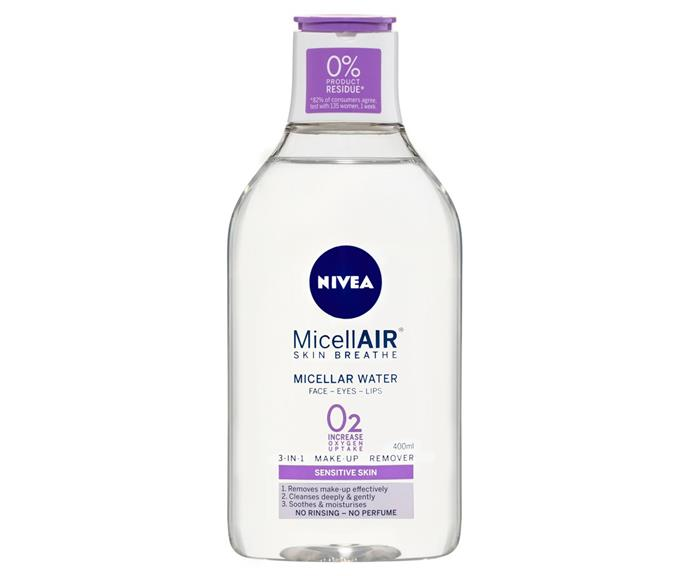 "**Nivea Micellar Water, $10 from the supermarket or chemist.** <br><br> ""I love always having Nivea micellar water to remove makeup and body lotion to moisturise in my kit,"" Tobi said."