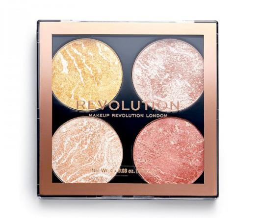 "**Revolution Cheek Kit, $10 from Priceline**  <br><br> ""Make It Count is my quad colour palette of choice,"" Max said. ""It's a four-pan palette of highlighters in yellow gold, silver, white gold and a beautiful peachy-pink to light skin up. They're high-impact shine that are super soft on the skin to blend and last a treat. Think Anastasia Beverly Hills but for a quarter of the price!"""