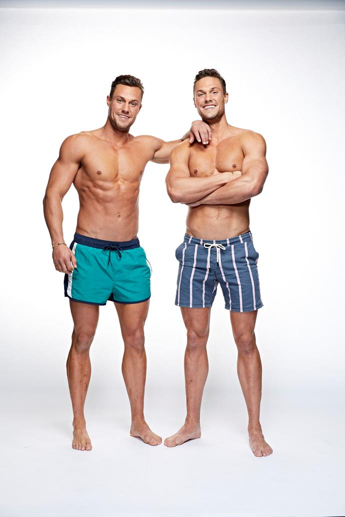 "**Luke and Josh, 25, synthetic grass installer/mortgage broker, NSW** <br><br> Identical twins Luke and Josh hail from Sydney's northern beaches and describe themselves as ""full-on, full of energy and double trouble."" While Luke is more outgoing, Josh is more reserved but they're both looking for a confident woman."