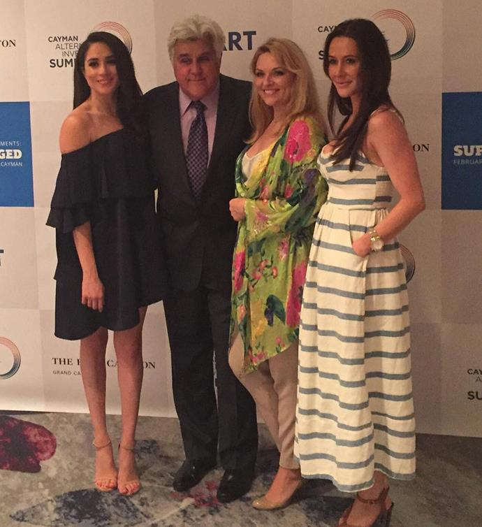 Meghan (left) pictured with former US talk show host Jay Leno, Gina and Meghan's best friend Jessica Mulroney (right) in 2016. *(Image: Instagram/@ginakrugco)*