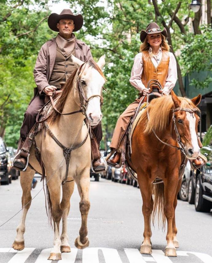"""Welcome to the Wild Wild Upper West."" US TV personalities Ryan Seacrest and Kelly Ripa donned their cowboy gear as they filmed a sketch in New York City."