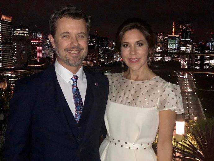 Date night in Tokyo! Before attending a banquet for the newly enthroned Emperor Naruhito in the Japanese capital, the loved-up couple posed for a photo with the city skyline in the background.