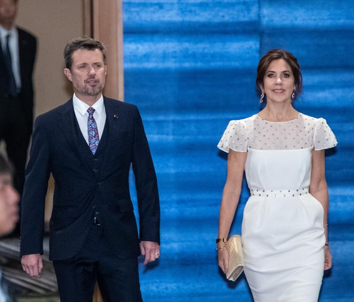 Mary looked heavenly in a bridal design for her night out in Tokyo with Prince Frederik.