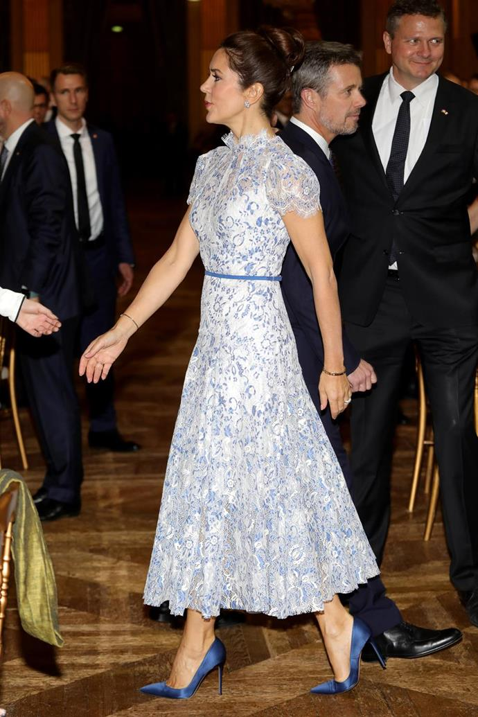 Mary looked gorgeous in this blue and white creation while she toured Paris in early October.