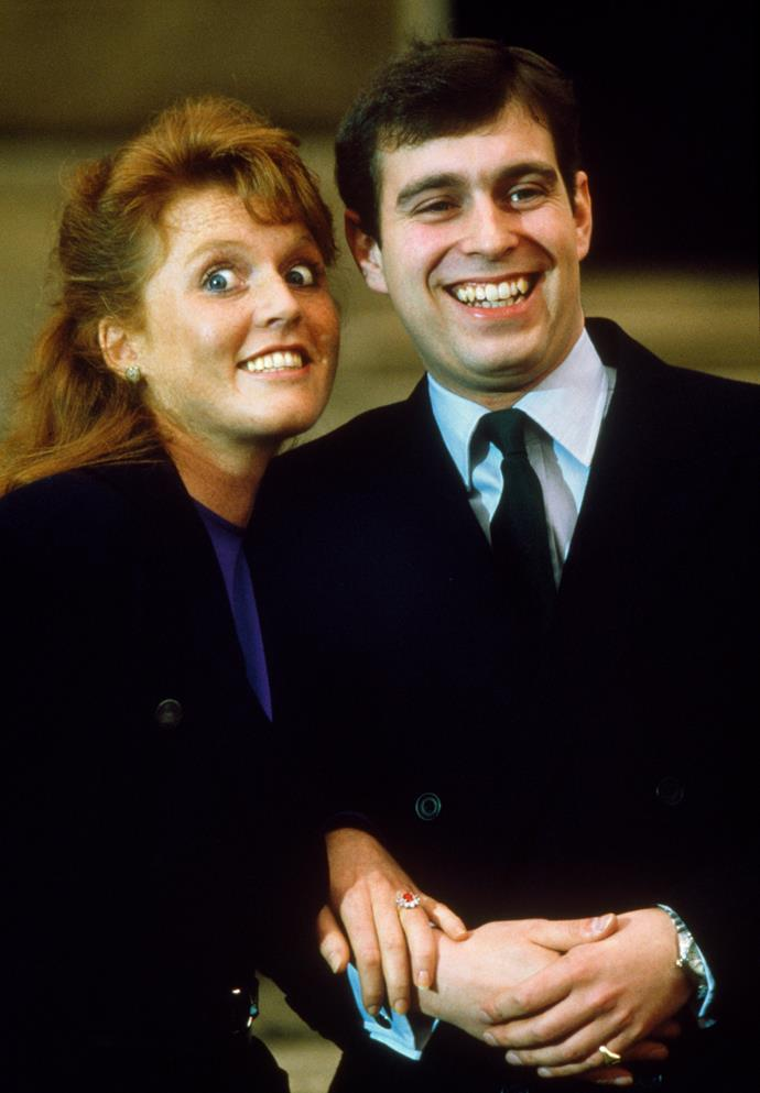 The royal family's best divorced couple Prince Andrew and Sarah Ferguson announced their engagement in 1986 and while they like to keep things lighthearted, their proposal was like something out of a rom com. <br><br> Prince Andrew asked his girlfriend to marry him on his 26th birthday at Scotland's Floors Castle- the place where they had shared their first kiss. And he chose the ring set with a Burmese ruby to match her red hair, how sweet!