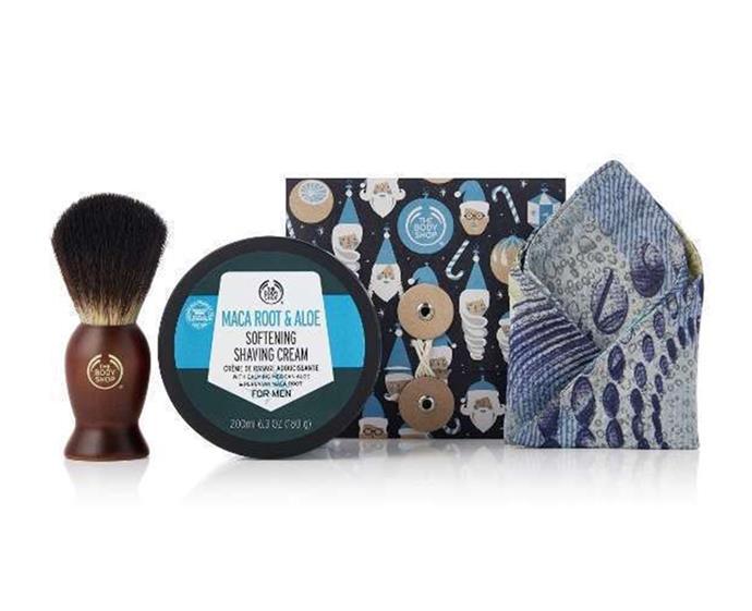 "Shave Away Kit by [The Body Shop](https://www.thebodyshop.com/en-au/gifts/christmas-gifts/shave-away-kit/p/p003453?activeVariant=1063225&gclid=CjwKCAjw9L_tBRBXEiwAOWVVCcaWIWU7PzA1XFOrIMGis3tzqs-CDzFtKgWo9Y3HiN5vciNjDut1phoCuEAQAvD_BwE&gclsrc=aw.ds target=""_blank"" rel=""nofollow""), $30"