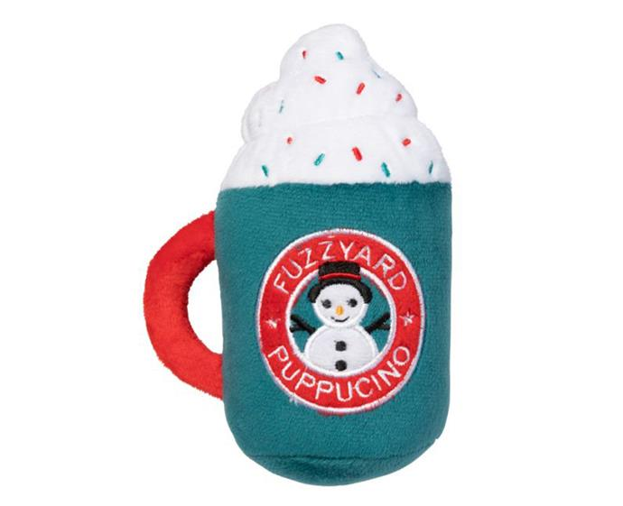 """Christmas Puppuccino dog toy by [Fuzz Yard](https://fuzzyard.com/au/christmas-puppuccino.html target=""""_blank"""" rel=""""nofollow""""), $10.95"""