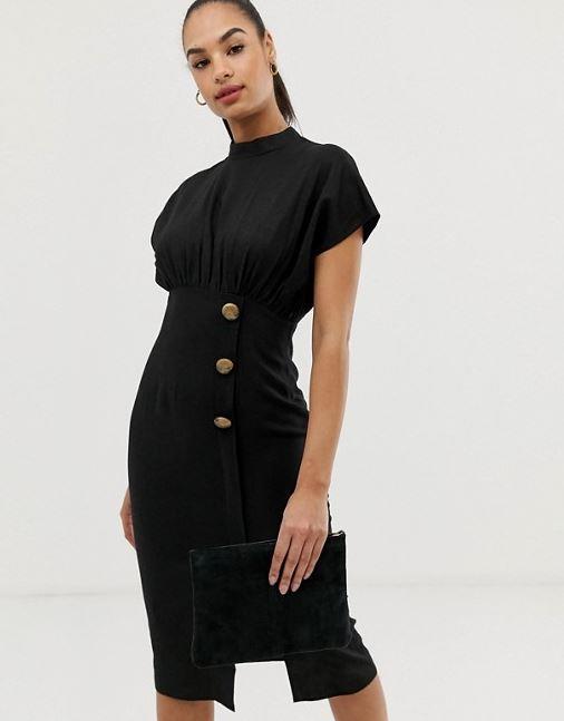 "ASOS DESIGN linen midi dress, $45.50. [Buy it online here](https://www.asos.com/au/asos-design/asos-design-linen-midi-dress-with-high-neck-and-tortoiseshell-buttons/prd/10899590|target=""_blank""|rel=""nofollow"")."