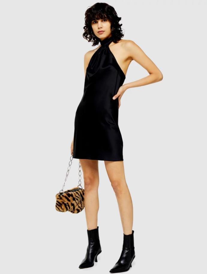 "TOPSHOP satin halter dress, $59.95. [Buy it via The Iconic here](https://www.theiconic.com.au/satin-halter-dress-955329.html|target=""_blank""|rel=""nofollow"")."