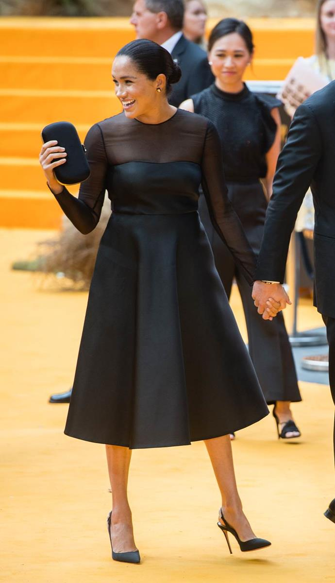 "Later that month, Meghan made her dazzling return to the red carpet (or in this case, yellow!) in a glorious [Jason Wu dress](https://www.nowtolove.com.au/royals/british-royal-family/meghan-markle-lion-king-57025|target=""_blank"") for the Lion King European premiere. Featuring sheer sleeves and an A-line skirt, we were obsessed with this glamorous look on the royal."