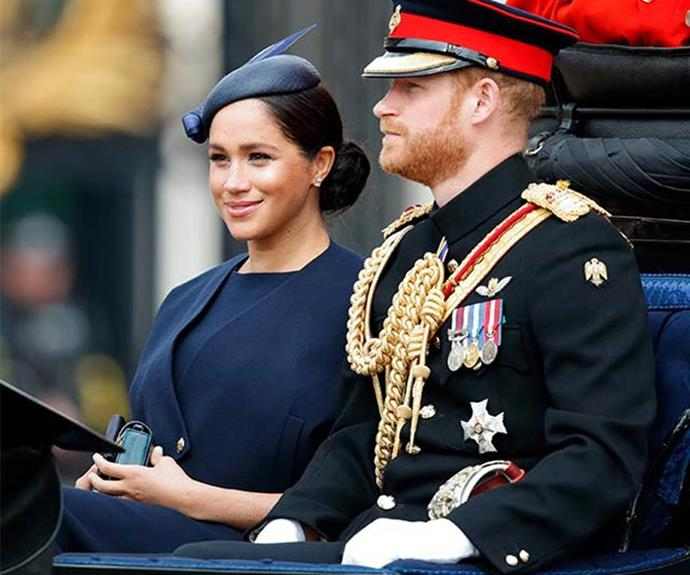 "A month later, the Duchess made her second post-birth appearance at the annual [Trooping the Colour parade](https://www.nowtolove.com.au/royals/british-royal-family/trooping-the-colour-2019-56294|target=""_blank""). Wearing a navy blue ensemble by Clare Waight Keller for Givenchy, Meghan was oozing elegance."