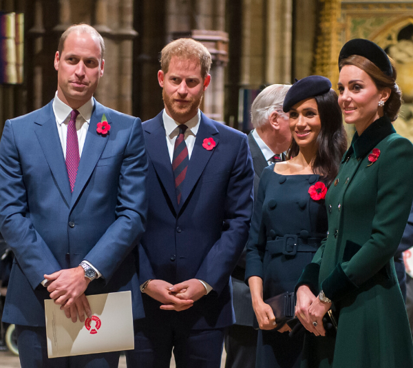 Prince William, Prince Harry, Duchess Meghan Markle and Duchess Catherine at a remembrance service in 2018.