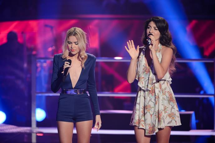 Mia battled her friend Fely for a spot on Team Ricky on *The Voice Australia.*