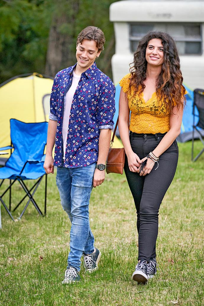 Mia with her co-star Lukas Radovich on *Home and Away.*