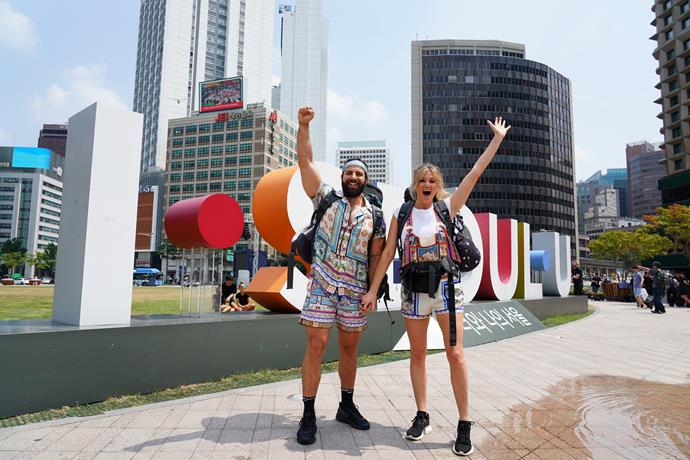 Sid and Ash take on Seoul on *The Amazing Race Australia.*