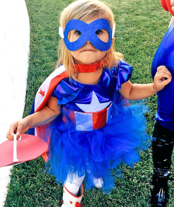Penelope Disick, daughter of Kourtney Kardashian and Scott Disick donned a *Captain America* superhero costume for Halloween 2015.