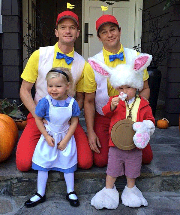 Neil Patrick Harris and husband, David Burtka with their twins, Harper and Gideon dressed as characters from *Alice in Wonderland* for Halloween 2018. Seriously, this is the BEST!