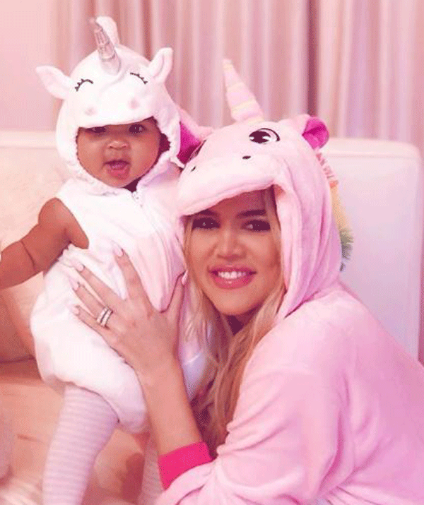 a unicorn! Khloe even wore a matching unicorn onesie.