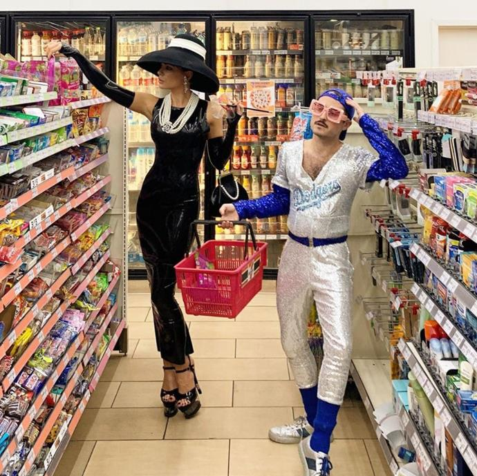 Audrey Hepburn and Elton John shopping for candy? Oh wait, it's Kate Beckinsale and Jonathan Voluck.