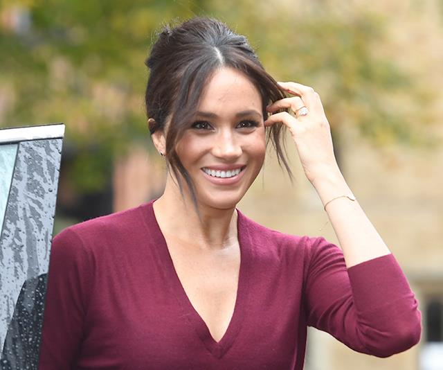 Meghan looked chic in a 1960s-esque hairstyle.