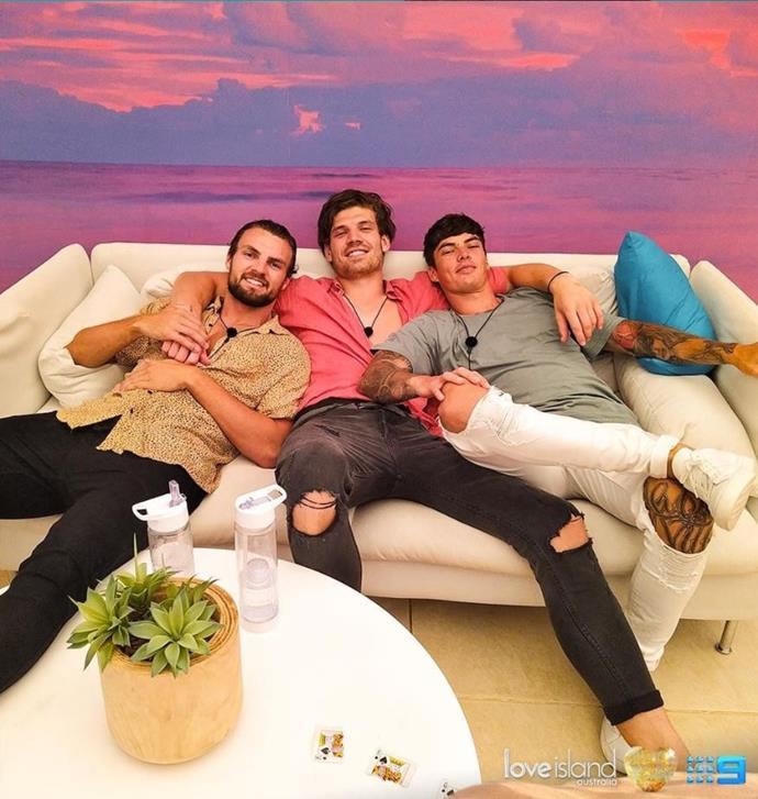A triple bromance! Eoghan, Matt and Adam were tight in the Villa.