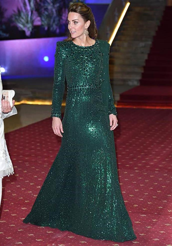 On her second night in the South Asian country, Kate wore this heavenly Jenny Packham gown - it's possibly our favourite look on the royal of all time!