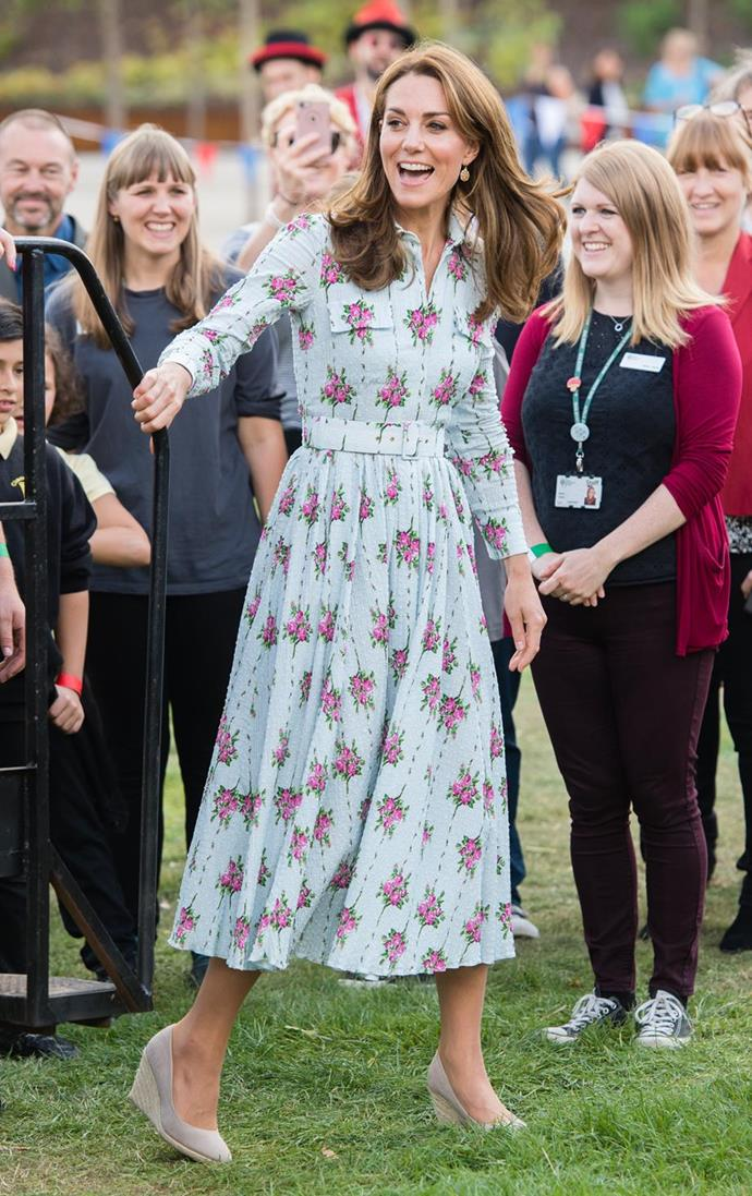 "Kate looked utterly heavenly as she stepped out at the Wisley Gardens in September wearing this [Emilia Wickstead floral number](https://www.nowtolove.com.au/royals/british-royal-family/kate-middleton-princess-charlotte-hairstyle-58167|target=""_blank"")."