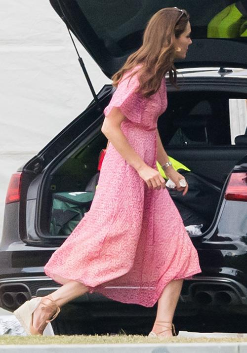 "In one of our favourite summer dresses we've ever seen on Kate, this beautiful [L.K.Bennett design](https://www.nowtolove.com.au/fashion/fashion-news/meghan-markle-kate-middleton-polo-dresses-56978|target=""_blank"") was perfect for her day spent with family at the polo."