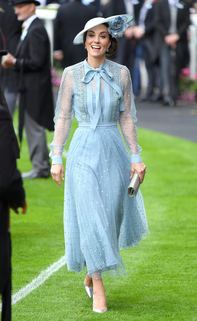 "In what might be our favourite royal fashion moment all year, Kate Middleton *finally* wore an Elie Saab design for the very first time. The [light blue frock](https://www.nowtolove.com.au/royals/british-royal-family/kate-middleton-royal-ascot-2019-56496|target=""_blank""), which featured a pussy bow and beautiful sheer detailing was worth every single part of the wait. Obsessed."