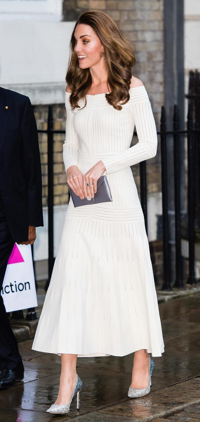 "Kate stunned us once again in June when she stepped out for a gala dinner wearing this beautiful white [off-shoulder dress](https://www.nowtolove.com.au/fashion/fashion-news/kate-middleton-barbara-casasola-dress-56391|target=""_blank"") and some *very* daring sparkly heels. We love her highlighted makeup look too - glowing!"