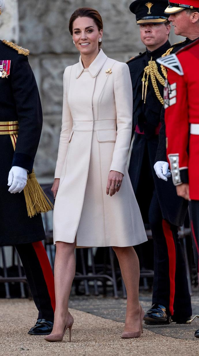 "Attending the [annual Beating Retreat](https://www.nowtolove.com.au/royals/british-royal-family/kate-middleton-cream-coat-56268|target=""_blank""), Kate gave us all the winter inspo we never knew we needed, wearing one of her favourite Catherine Walker coats."