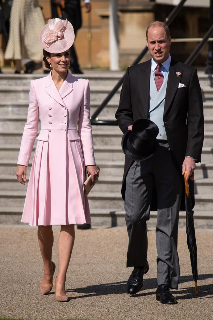"Kate's gorgeous pink [Alexander McQueen number](https://www.nowtolove.com.au/royals/british-royal-family/kate-middleton-dianas-earrings-garden-party-55889|target=""_blank"") was picture perfect as she and Wills attended one of this year's Garden Parties at Buckingham Palace."