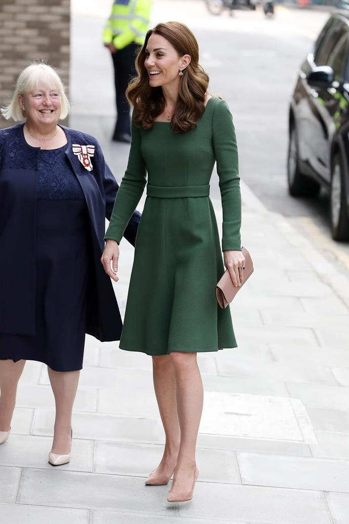 "Kate's [moss green midi dress](https://www.nowtolove.com.au/royals/british-royal-family/kate-middleton-green-dress-55420|target=""_blank"") designed by Kiwi-born designer Emilia Wickstead was absolutely divine on the royal as she visited Pears Family School in London."